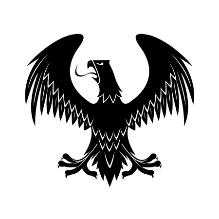 Medieval black eagle heraldic icon for royal coat of arms or knight insignia design usage with proud bird of prey with open beak, extended legs and wings