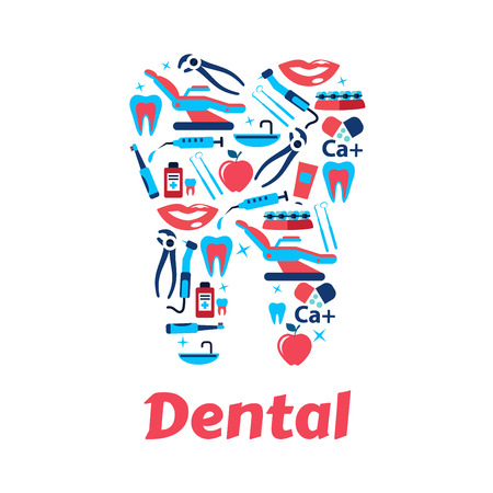 braces: Dentistry and dental care icon with silhouette of tooth, composed of dentist tools, toothbrushes and toothpastes, braces, syringes and medicine bottles, healthy teeth, smiles and apples. Flat style