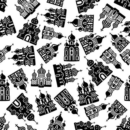 cathedrals: Black and white religious seamless background of christian churches, temples and orthodox cathedrals pattern with ornamental onion domes and crosses. Religion, faith and places of worship theme design Illustration
