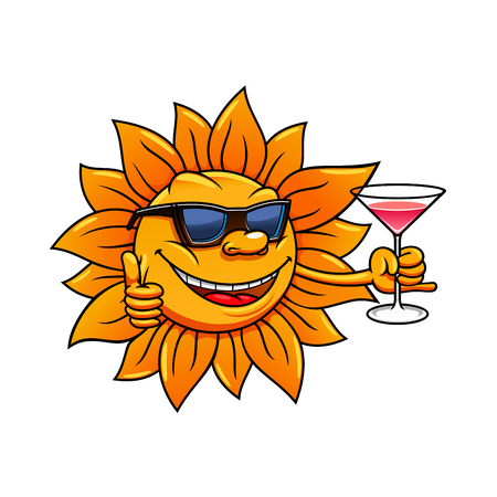 leisure activity: Happy bright hot sun cartoon character in sunglasses is drinking cocktail and giving thumb up sign. Great for summer vacation, weekend leisure activity  and traveling design