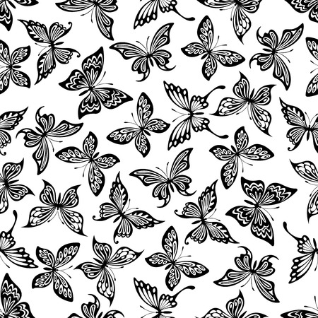 arrière plan noir et blanc: Decorative flying butterflies seamless pattern with openwork black silhouettes of monarch and swallowtail butterflies randomly scattered over white background. Nature theme or scrapbook page backdrop design Illustration