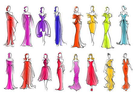 evening gowns: Fashionably dressed women sketch silhouettes for fashion industry or clothes design. Fashion models presenting colorful sleeveless cocktail dresses and long silk evening gowns, adorned by ruffles and bows