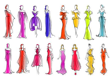 Vestida a la moda las mujeres siluetas croquis para la industria de la moda o ropa de diseño. Modelos de manera que presentan vestidos de cóctel sin mangas de colores y vestidos de noche largos de seda, adornados con volantes y lazos Ilustración de vector