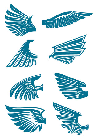 heraldic symbol: Open bird wings icons for heraldic symbol or tattoo design usage with medieval stylized blue silhouettes of eagle, hawk or falcon wings