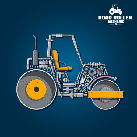 steamroller: Road roller mechanics symbol for transportation design usage with smooth wheel tandem roller composed of heavy steel drums and exhaust stack, gear wheels and pressure hose, seat and axle, crankshaft and ball bearings
