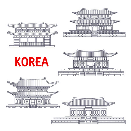Korean five grand palaces of Joseon Dynasty thin line icons for travel or asian architecture theme design with Changdeok, Changgyeong, Deoksugung, Gyeongbokgung and Gyeonghuigung Palaces