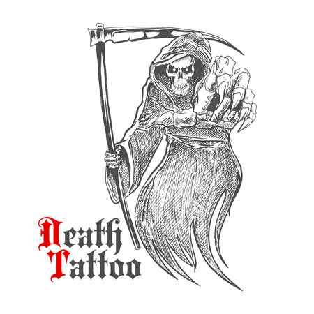 Sketch cartoon dreadful grim reaper in old hooded cloak with scythe pointing at viewer. Death or skeleton monster character for t-shirt print or tattoo design usage Illustration