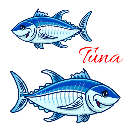 bluefin tuna: Cartoon atlantic bluefin tuna characters. For aquarium zoo or sporting fishing mascot design with large smiling tunnies fishes with silvery blue scales and dark stripe on spine