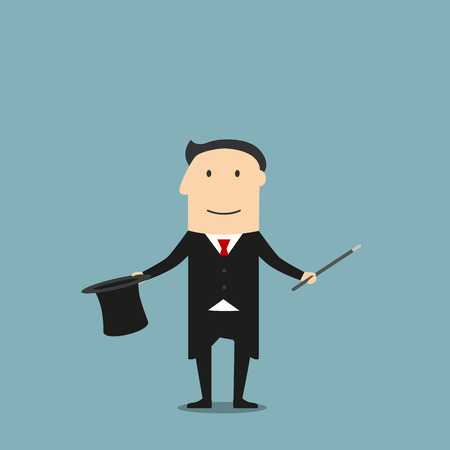 leisure activity: Cartoon magician in elegant black tailcoat showing tricks with magic wand and hat. Entertainment and weekend leisure activity or profession theme design