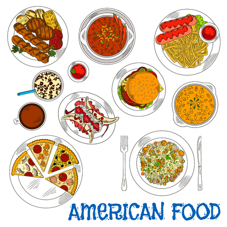american food: American grilled steaks, burgers and vegetables sketch icon served with fast food cheeseburger, pizzas, french fries and sausages, chilli and jambalaya with meatballs, pumpkin cream soup and banana split dessert, coffee and soda drinks