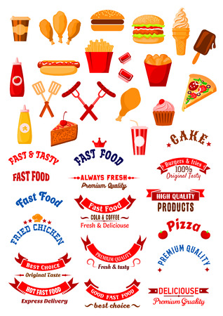 american food: Fast food cafe retro design elements with burgers and hot dog, cake and cupcake, french fries and fried chicken, coffee and soda cups, pizza and ice cream, grilled sausages with sauces, forks and spatulas, ribbon banners and stars