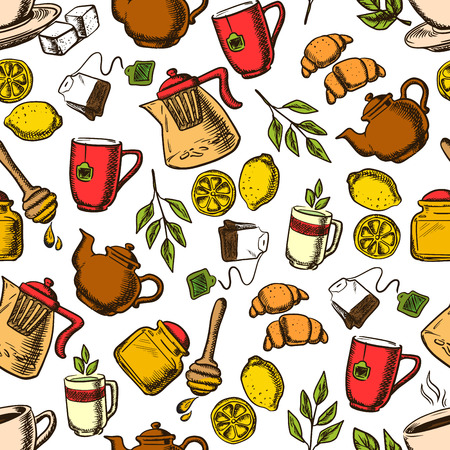 fresh brewed: Aroma herbal, black and green tea drinks retro background with seamless pattern of cups and mugs of fresh brewed beverages with teabags and green leaves, lemons fruits and croissants, teapots and honey jars