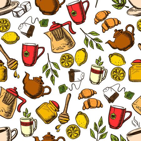 Aroma Kräuter-, schwarzer und grüner Tee Getränke Retro-Hintergrund mit nahtlose Muster von Tassen und Becher von frisch gebrühten Getränke mit Teebeuteln und grüne Blätter, Zitronen Obst und Croissants, Teekannen und Honiggläser