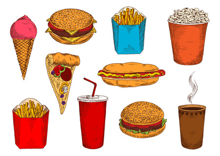 topped: Blue and red boxes of take away french fries sketch icons with hamburger, cheeseburger and hot dog sandwiches, pizza topped with salami and vegetables, cups of coffee and soda, strawberry ice cream cone and popcorn bucket