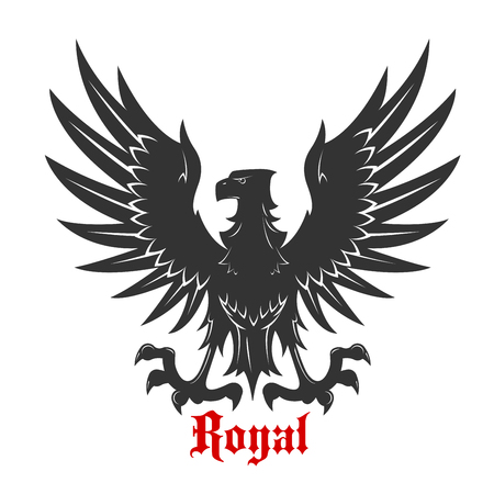 talons: Black eagle royal heraldic symbol with medieval stylized bird floating in the air with wings spread and outstretched talons ready to catch prey