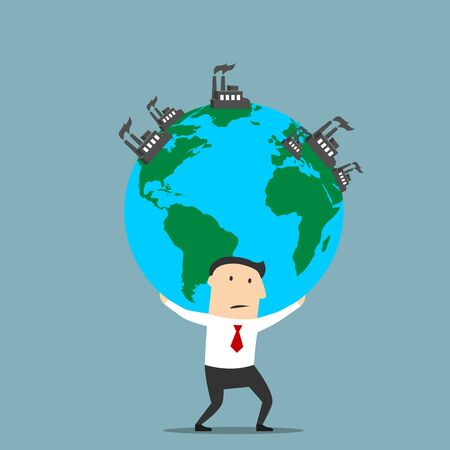 exploitation: Cartoon businessman carrying the earth globe with fuming industrial plants and factories. Natural resources, earth exploitation, industrial pollution themes design Illustration