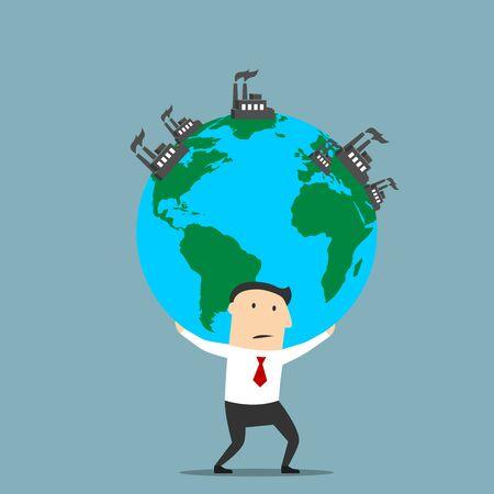 recursos naturales: negocios de la historieta que lleva el globo terráqueo con fumante plantas industriales y fábricas. Los recursos naturales, la explotación de la tierra, diseño de temas de contaminación industrial Vectores
