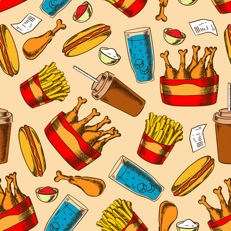 Retro cartoon seamless pattern with fast food buckets of fried chicken drumsticks and french fries, hot dogs with ketchup and garlic sauces, coffee cups and glasses of water with ice on beige background