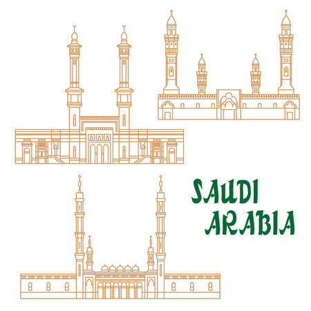 holy place: Islamic heritage sites of Saudi Arabia linear icon for religious architecture and tourism design usage with Masjid al-Haram, Masjid an-Nabawi and Quba Mosque Illustration