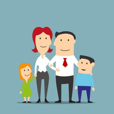 행복한 만화 가족 비즈니스 부부는 두 귀여운 아이들과 함께 포즈. 웃는 아버지와 어머니, 딸과 아들의 가족 초상화. 가족, 사랑, 부모와 결혼 테마 디