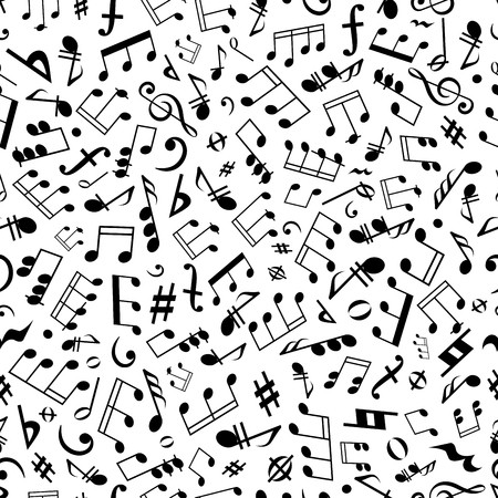 chords: Black and white seamless musical symbols and marks background pattern with musical notes, chords and rests of different durations, treble and bass clefs, flat and sharp accidentals, coda and forte signs