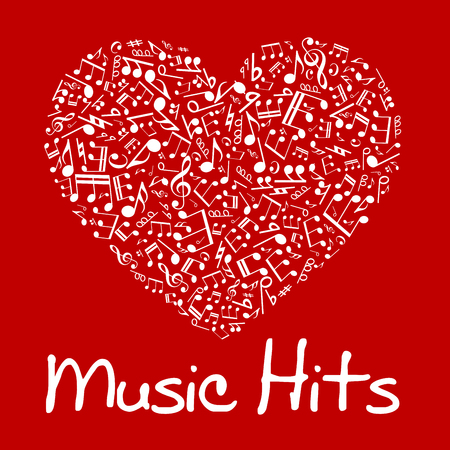 chords: Love music concept design of vibrant red and white musical heart composed of notes and chords, treble and bass clefs, sharp and flat accidentals with caption Music Hits below