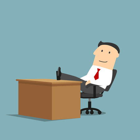 relaxed: Relaxed smiling cartoon businessman is resting at workplace with feet on the table. Coffee break, relaxation themes design usage