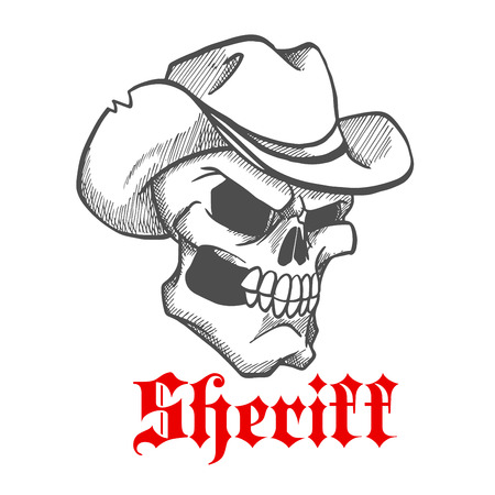 western theme: Dangerous and angry skull sheriff symbol wearing old leather cowboy hat with ragged edges. Sketched human skeleton for wild west concept, western adventure theme or t-shirt print design