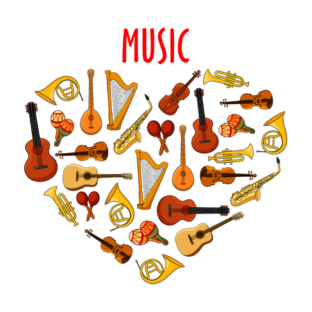 arts and entertainment: Cartoon musical instruments arranged into heart symbol with acoustic guitars and violins, saxophones and trumpets, horns and harps, maracas and banjo mandolins. Use as love music theme or arts, music and entertainment design Illustration