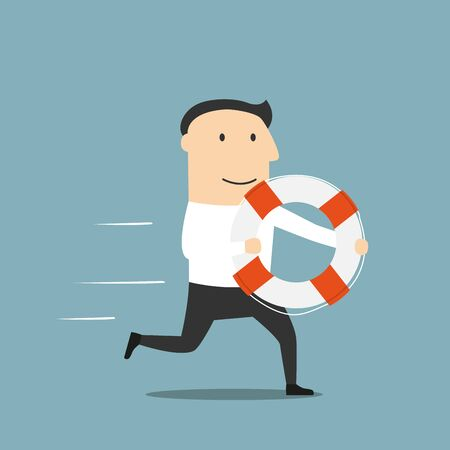 assistance: Business help, support, crisis survival, investment concept design. Cartoon businessman or investor with lifebuoy in hands running for help Illustration