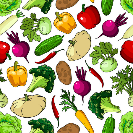 picked: Bright background with seamless pattern of fresh picked broccoli and cabbages, cucumbers and potatoes, chili and bell peppers, beetroots and carrots, kohlrabies and daikon, squashes and celery vegetables