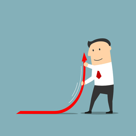 increase business: Confident smiling cartoon businessman raising up red arrow of financial graph to increase business profits. Financial report, commercial development and success themes design usage