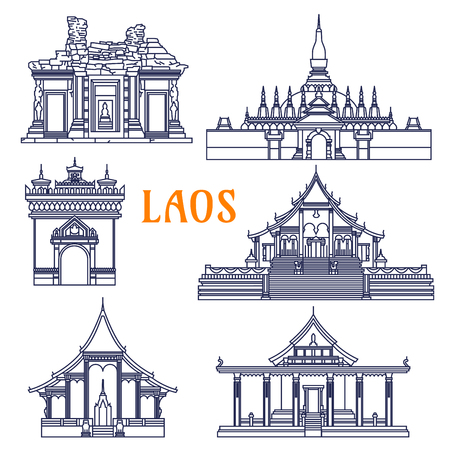 wat: Popular laotian monument and buddhist golden stupa, wats and ancient khmer temple icon with gate of Triumph Patuxai and Pha That Luang, Wat Si Saket and Wat Phou, Wat Xieng Thong and Wat Sen Souk Haram. Thin line style Illustration