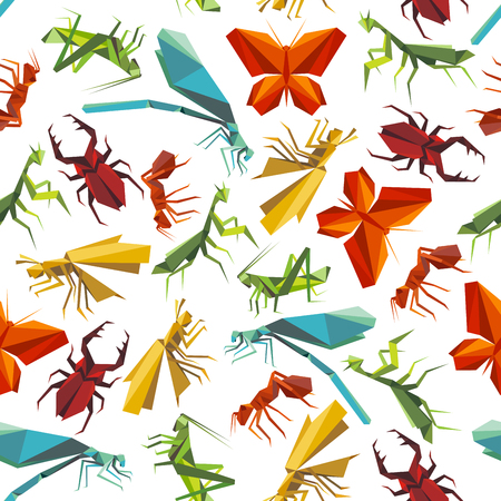 grasshoppers: Seamless paper origami insects pattern background for nature theme design with colorful butterflies and ants, dragonflies, beetles and grasshoppers, mantises and locusts