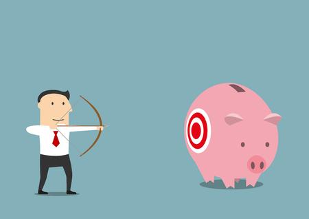 funds: Cartoon businessman with bow and arrow is hunting for someone elses piggy bank with savings. May be use as business theft, criminal or illegal earnings themes design