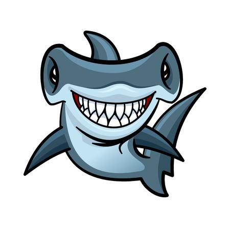 Gelukkig vraatzuchtige cartoon hamerhaai met een charmante glimlach van dodelijke scherpe tanden. Grappig zeedier karakter voor kinderen boek of de zee club mascotte van het ontwerp Stock Illustratie