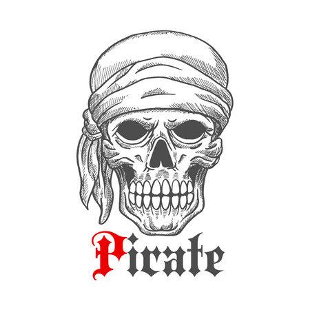 cheeks: Creepy pirate sailor skull wearing bandana sketch icon with frightful leftovers of flesh on cheeks and under eyes. Great for marine adventure theme or piracy mascot design usage