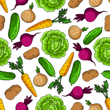 greengrocery: Healthy vegetarian pattern with seamless cartoon ornament of vivid green cabbages and cucumbers, juicy orange carrots and onions with fresh leaves, purple beetroots and potatoes vegetables on white background Illustration