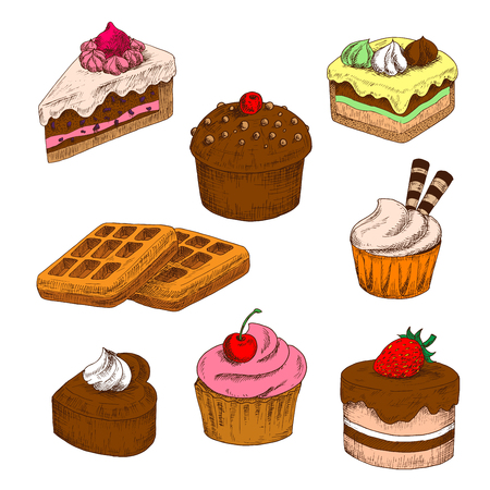 buttercream: Awesome chocolate cakes and cupcakes, topped with buttercream frosting with fresh strawberry and cherry fruits, wafer tubes and meringue decorations, sugar belgian waffles colored sketch icons