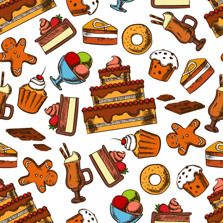 men bars: Chocolate treats seamless pattern background of delicious tiered cakes and cupcakes with fruits and cream, glazed raisin muffins and donuts, sundae ice cream and irish coffee, gingerbread men cookies and chocolate bars