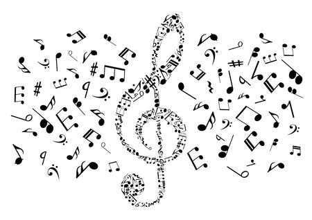 Que fluye notas musicales dispuestas en símbolo clave de sol para la música y el arte conceptual de diseño con siluetas negras de notas y silencios, claves de bajo y acordes Ilustración de vector