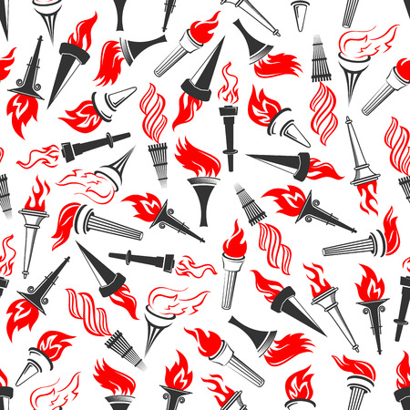 white achievement: Seamless pattern of ancient greek burning torches with bright red flame swirls, randomly scattered on white background. Sporting competition, achievement or religion themes design Illustration
