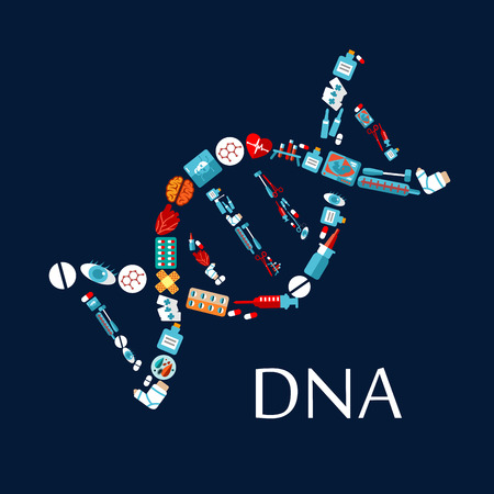medical scans: Model of DNA helix icon composed of medical tools and instruments, medicine bottles and pills, syringes and test tubes, hearts, brain and eyes, x ray and ultrasound scans, formulas and molecules. Flat style