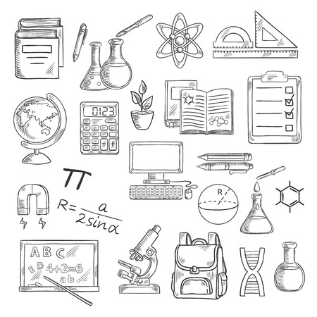 school computer: School supplies sketch symbols for back to school concept design with desktop computer and books, calculator and globe, backpack and microscope, blackboard and laboratory flasks, DNA and atom, formula and drawings, magnet and clipboard
