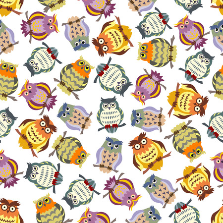 feathering: Cartoon seamless pattern of colorful owls on tree branches with ornamental striped and spotted feathering, lush eyebrows and glasses. Great for education concept or kids room interior design Illustration