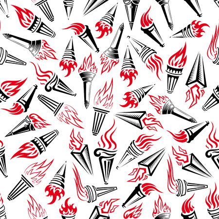 hand held: Seamless modern hand held torches pattern over white background with bright red flames and heavy handles adorned with swirling and geometric ornaments. Victory and peace theme or sporting competition concept design