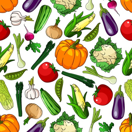 greengrocery: Vivid seamless organic farm grown vegetables pattern background with tomatoes and eggplants, pumpkins and corn cobs, peas and garlics, onions and radishes, asparagus and cauliflowers, chinese cabbages and zucchini