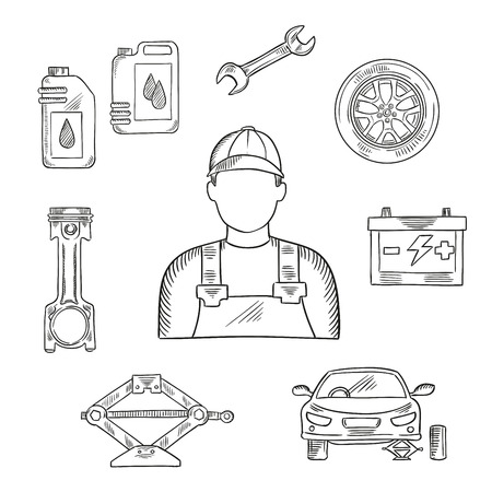 motor car: Professional auto mechanic sketch icon for car service center or car workshop symbol design usage with wheel and motor oil, spanner and battery, engine piston and car stand on scissor jack Illustration