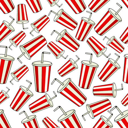 fizz: Traditional striped paper cups of sweet soda with drinking straws seamless pattern background with disposable cups of fast food soft drink with red and white stripes. May be use as cafe interior or entertainment theme design