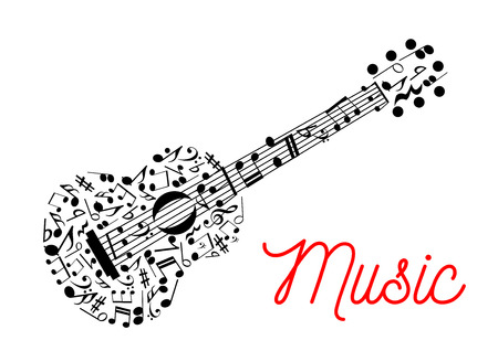 Acoustic guitar composed of musical stave with notes symbol for music, arts and entertainment design usage with treble and bass clefs, chords and rests Ilustração